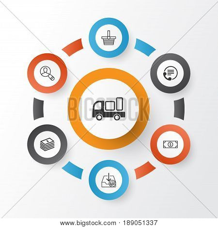 Ecommerce Icons Set. Collection Of Spectator, Telephone, Withdraw Money And Other Elements. Also Includes Symbols Such As Money, Information, Buck.