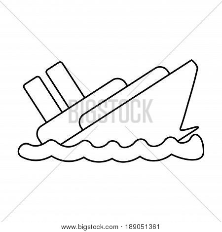 line emergency ship flood and natural disaster vector illustration