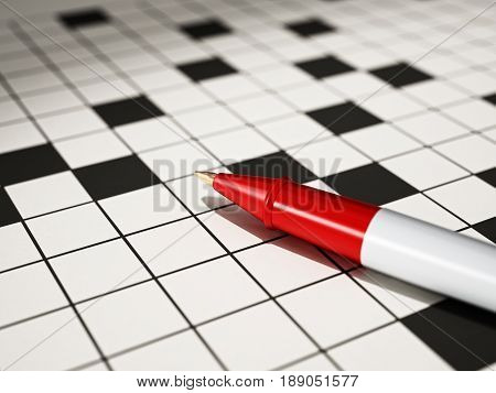 Ball point pen standing on crossword puzzle 3D illustration.