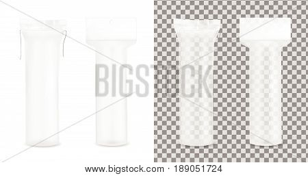 Transparent cotton pads package. vector mock up