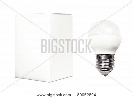 Realistic electric light bulb with white paper box