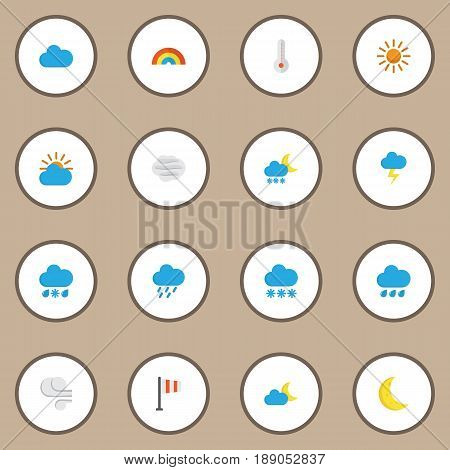 Nature Flat Icons Set. Collection Of Shower, Moon, Sun And Other Elements. Also Includes Symbols Such As Rain, Hail, Blizzard.