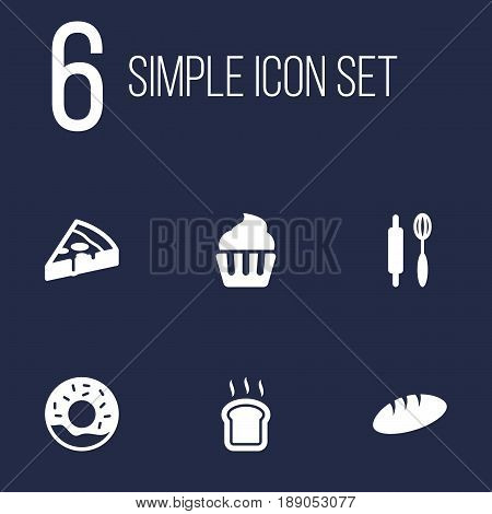 Set Of 6 Food Icons Set.Collection Of Whisk, Loaf, Slice Bread And Other Elements.