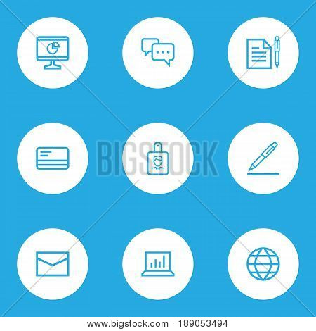 Business Outline Icons Set. Collection Of Statistics, Mail, Identification And Other Elements. Also Includes Symbols Such As Sign, World, Id.