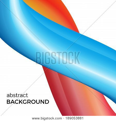 Color abstract composition of the blue and red watercolor waves. Vector abstract colorful background with bent dynamic form.