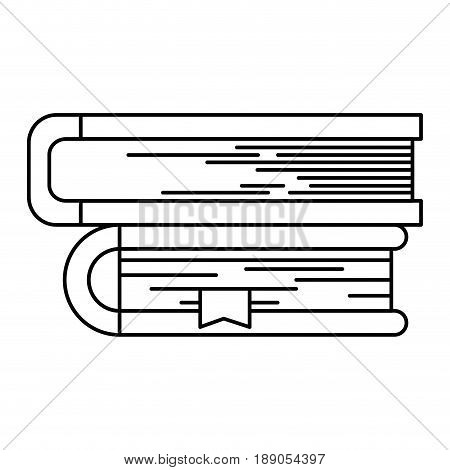 sketch silhouette image of collection of books with bookmark vector illustration