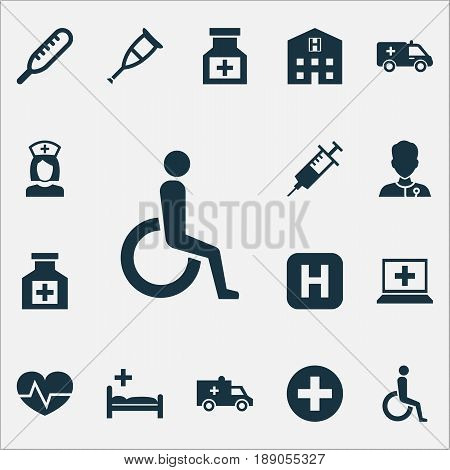 Drug Icons Set. Collection Of Database, Handicapped, Beating Elements. Also Includes Symbols Such As Pill, Health, Crutch.
