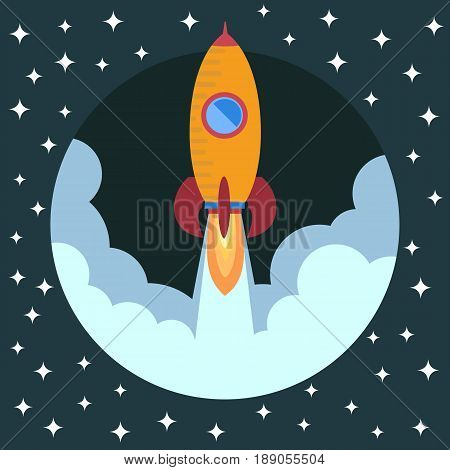 Space rocket ship in round piece. Space rocket launch. Project startup and development process concept. The rocket flies upwards.