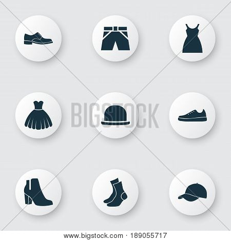 Garment Icons Set. Collection Of Elegance, Trunks Cloth, Panama And Other Elements. Also Includes Symbols Such As Footwear, Boots, Trunks.