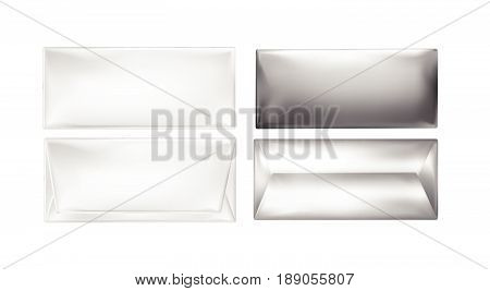 White and foil package for snacks, food and chocolate