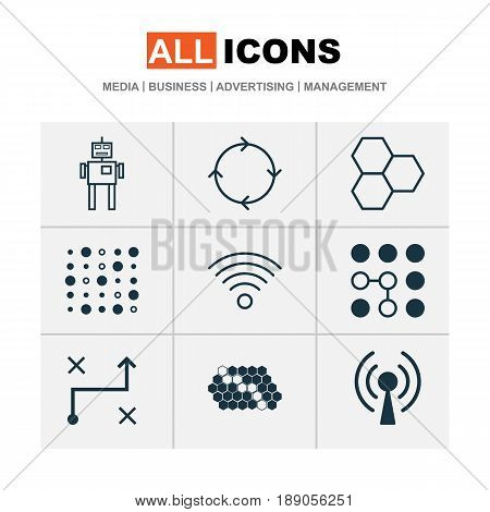 Artificial Intelligence Icons Set. Collection Of Recurring Program, Wireless Communications, Cyborg And Other Elements. Also Includes Symbols Such As Hive, Wifi, Network.