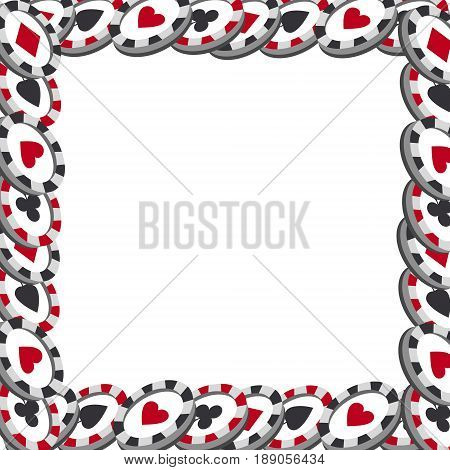 Casino chips frame. Chips different on white bacground