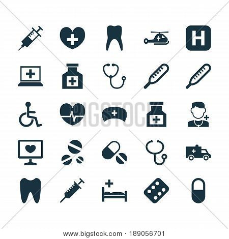 Medicine Icons Set. Collection Of Copter, Database, Remedy And Other Elements. Also Includes Symbols Such As Pellets, Ache, Mercury.