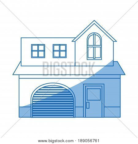 home garage facade structure two story outline vector illustration