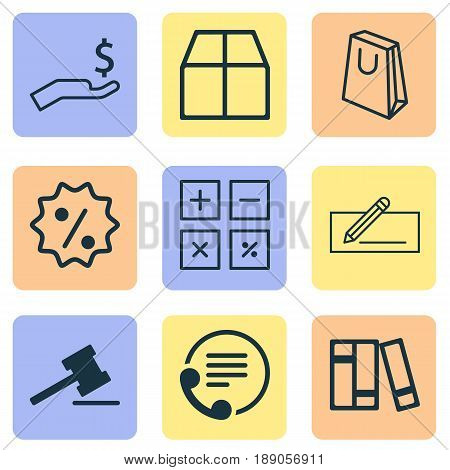 E-Commerce Icons Set. Collection Of Rich, Rebate Sign, Bookshelf And Other Elements. Also Includes Symbols Such As Information, Transfer, Badge.
