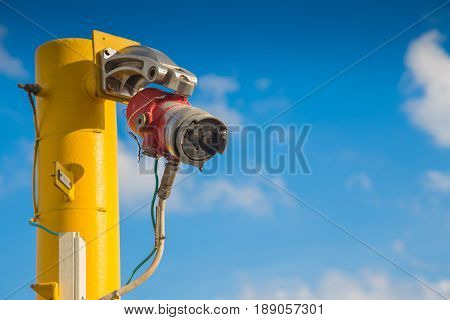 Fire and Gas detection system on oil and gas platform petrochemical plant for detect flame and sent alarm signal to controller for shutdown platform.