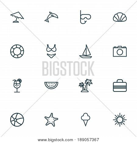Hot Outline Icons Set. Collection Of Sunny, Ice Cream, Lifesaver And Other Elements. Also Includes Symbols Such As Beachwear, Palm, Animal.