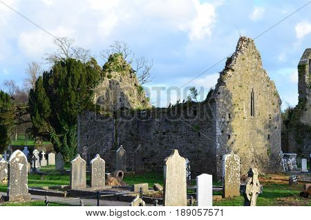 Friary ruins and cemetery in Adare Ireland.