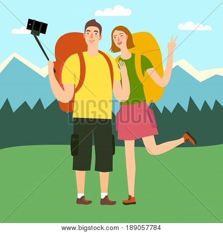 Cartoon traveler girl and boy with a large backpacks making selfie photo on mountains landscape. Backpacker illustration