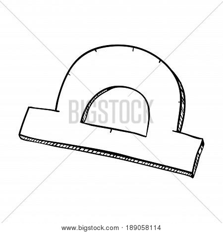 line protractor ruler tool to study vector illustration