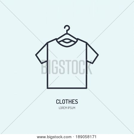 T-shirt on hanger icon, clothing shop line logo. Flat sign for apparel collection. Logotype for laundry, clothes cleaning.