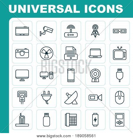 Hardware Icons Set. Collection Of Universal Serial Bus, Charge, Gadget And Other Elements. Also Includes Symbols Such As Modem, Printer, Display.