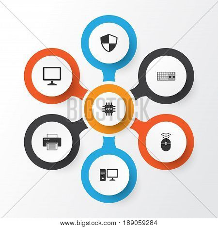 Device Icons Set. Collection Of Keypad, Motherboard, Printing Machine And Other Elements. Also Includes Symbols Such As Protection, Keypad, Keyboard.