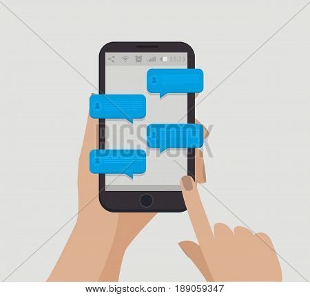 Hand holding smartphone. Chating concept. Blue speech bubbles. Online communication. Vector illustration