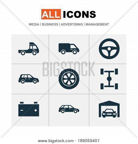 Auto Icons Set. Collection Of Van, Hatchback, Car And Other Elements. Also Includes Symbols Such As Steering, Battery, Wheelbase.