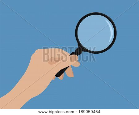 Hand Holding Magnifying Glass.vector Illustration. Flat Style. Mock Up With Transparent Glass. Isola