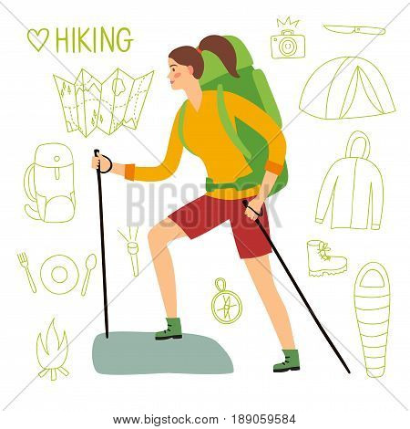 Cartoon traveler woman with a large backpack and trekking poles walking up the road. Including doodle drawings as map flashlight camera knife sleeping bag tent compass. Hiking illustration