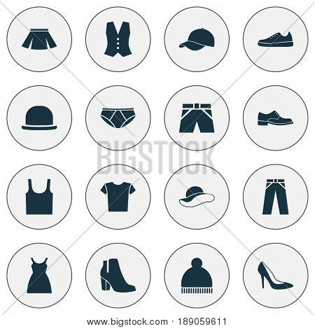 Garment Icons Set. Collection Of Stylish Apparel, Panama, Dress And Other Elements. Also Includes Symbols Such As Elegant, Tank, Female.