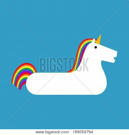 Inflatable Unicorn Isolated. Magic Beast Toy For Swimming