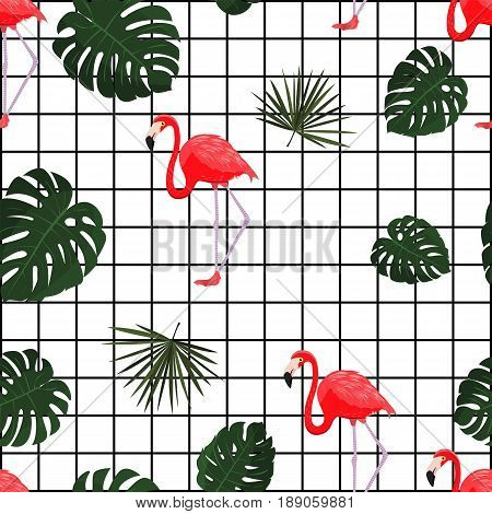 Trendy tropical pattern with flamingo. Vector. Hawaiian style background with jungle tropical plants and flamingo bird. Fabric print. Trendy and modern wallpaper design.