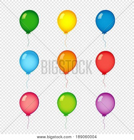 Colored helium balloons on transparent background. Green, yelllow, blue, orange, red and violet color helium balloons vector set