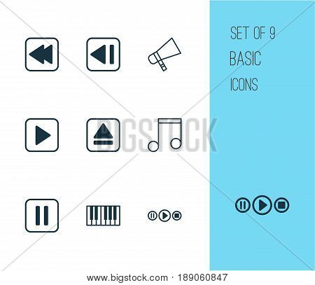 Music Icons Set. Collection Of Mute Song, Bullhorn, Extract Device And Other Elements. Also Includes Symbols Such As Previous, Backward, Synthesizer.