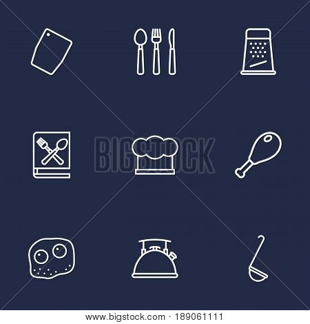 Set Of 9 Culinary Outline Icons Set.Collection Of Cutlery, Book Of Recipes, Kettle And Other Elements.