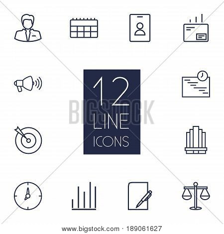 Set Of 12 Business Outline Icons Set.Collection Of Schedule, Business Center, Chart And Other Elements.