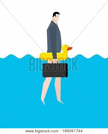 Businessman And Inflatable Duck. Manager On Vacation Sea. Business Travel