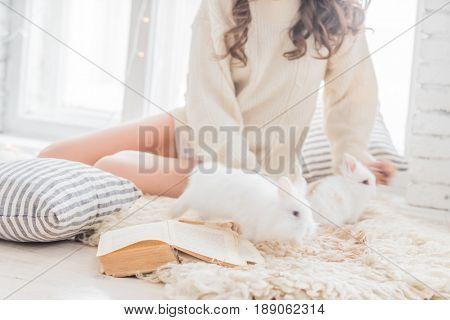 women with rabbit