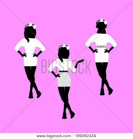 Fashion woman model silhouettes set in various poses in headband with butterfly. Vector illustration