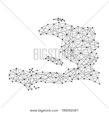 Map of Haiti from polygonal black lines and dots of vector illustration