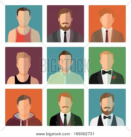 Vector male avatar icons set in sport and official style