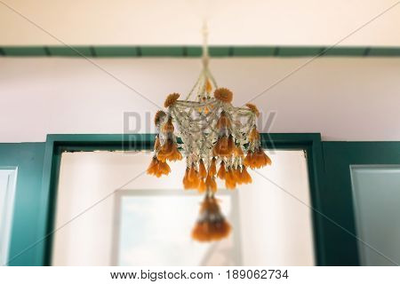 Traditional Thai flower garland hanging stock photo