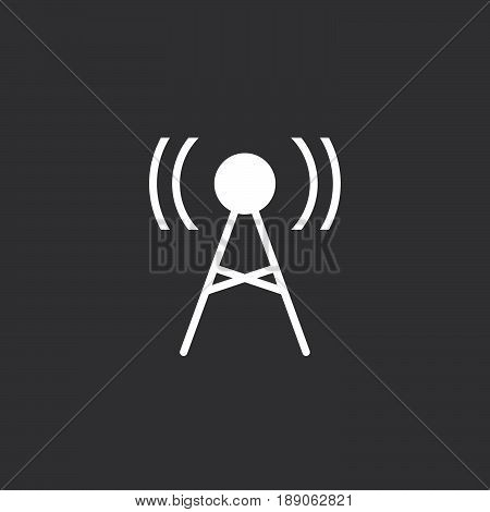 Antenna icon. Transmitter sign vector isolated on black .