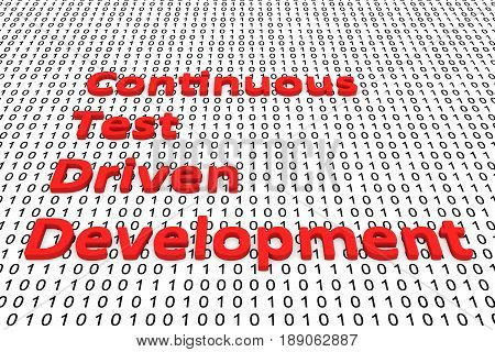 Continuous test driven development in the form of binary code, 3D illustration