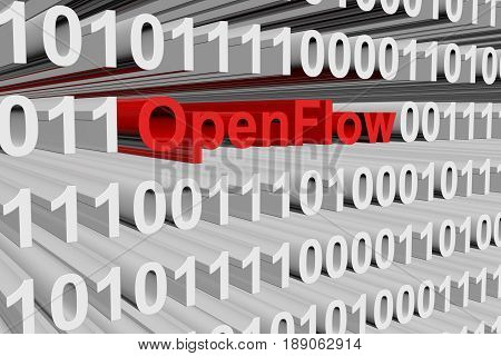 OpenFlow in the form of binary code, 3D illustration