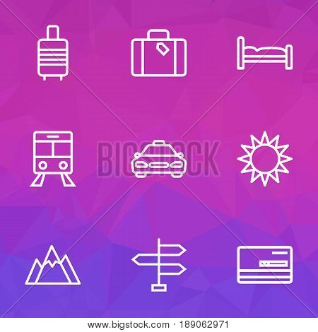 Traveling Outline Icons Set. Collection Of Bedstead, Luggage, Tram And Other Elements. Also Includes Symbols Such As Signpost, Hate, Tram.