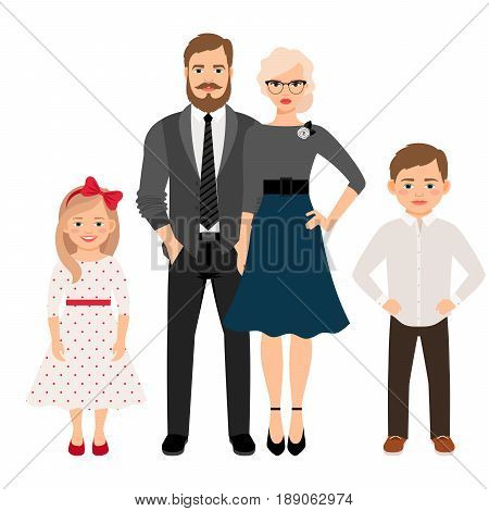 Happy family. Father, mother, son and daughter together in classic style clothes. Vector illustration
