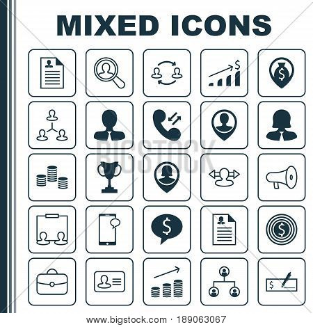 Resources Icons Set. Collection Of Find Employee, Manager, Bullhorn And Other Elements. Also Includes Symbols Such As Trophy, Bank, Increase.